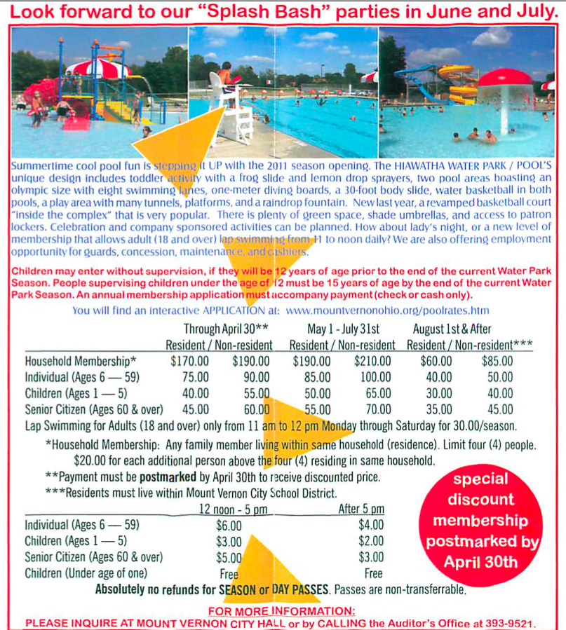 Mount Vernon Ohio Hiawatha Water Park and Pools 2011 Schedule and Pricing